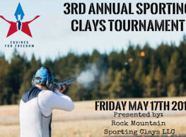 On Friday May 17th Equines For Freedom will hold its 3rd annual Sporting Clays Tournament at Rock Mountain Sporting Clays in Springville, PA.